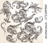 vector set of swirl elements... | Shutterstock .eps vector #172189985