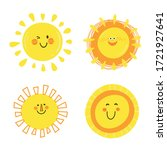 set of  funny happy suns.... | Shutterstock .eps vector #1721927641