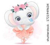 cute elephant ballet dance with ...   Shutterstock .eps vector #1721949634