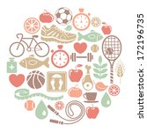 round card with healthy... | Shutterstock . vector #172196735