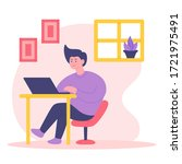 stay home concept illustration. ... | Shutterstock .eps vector #1721975491