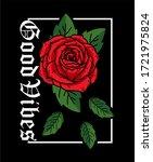 good vibes rose drawing art...   Shutterstock .eps vector #1721975824