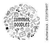 set of hand drawn summer...   Shutterstock .eps vector #1721978497