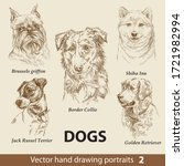 Hand Drawing Set Of A Cute Dogs ...