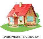old cozy rural house. vector is ... | Shutterstock .eps vector #1722002524