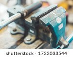 Close up of a metal vice in a...