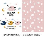 card with cute sheep  clouds ...   Shutterstock .eps vector #1722044587