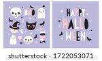 halloween hand drawn vector... | Shutterstock .eps vector #1722053071