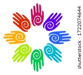 rainbow colors hands with...   Shutterstock .eps vector #1722074644