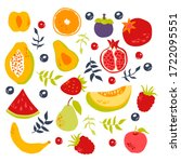stylized fruits with berries... | Shutterstock .eps vector #1722095551