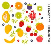 stylized fruits with berries... | Shutterstock .eps vector #1722095554