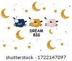 card with cute sheep  clouds ...   Shutterstock .eps vector #1722147097