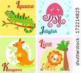 cute zoo alphabet in vector. i  ... | Shutterstock .eps vector #172214825