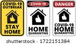warning of covid 19 icons. stay ... | Shutterstock .eps vector #1722151384