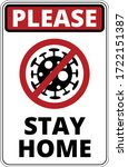 warning of covid 19 icons. stay ... | Shutterstock .eps vector #1722151387