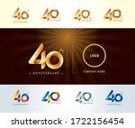 set of 40th anniversary... | Shutterstock .eps vector #1722156454