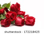 Bouquet Of Roses On White...