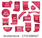 price tags  red ribbon banners. ...   Shutterstock . vector #1722188467