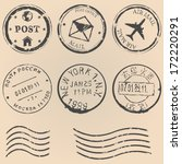 vector set of postal stamps on... | Shutterstock .eps vector #172220291