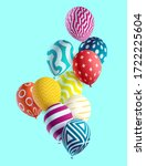 multicolored balloons on  blue... | Shutterstock .eps vector #1722225604