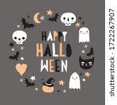 halloween hand drawn vector... | Shutterstock .eps vector #1722267907