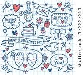 valentine doodle set with... | Shutterstock .eps vector #172227251