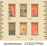 apartment building facade with... | Shutterstock .eps vector #1722277954