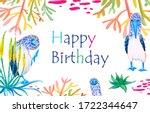 bright birthday greeting card.... | Shutterstock . vector #1722344647