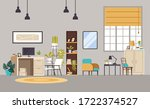 home office cabinet living room ... | Shutterstock .eps vector #1722374527