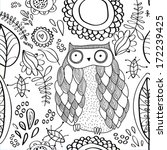 vector floral pattern with owl | Shutterstock .eps vector #172239425