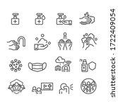 coronavirus and protect icons... | Shutterstock .eps vector #1722409054