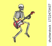 skeleton with electric guitar... | Shutterstock . vector #1722473437