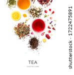 Small photo of Creative layout made of cups of tea, green tea, black tea, fruit and herbal tea, sencha, hibiscus, ginger on white background.Flat lay. Food concept.