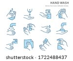 hand washing icons  such as... | Shutterstock .eps vector #1722488437