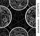 seamless pattern with sword ... | Shutterstock .eps vector #1722497971