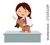 Veterinarian. Vector illustration of a veterinarian examining a puppy.