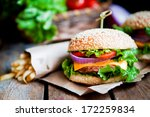 closeup of home made burgers on ... | Shutterstock . vector #172259834