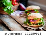 closeup of home made burgers on ... | Shutterstock . vector #172259915