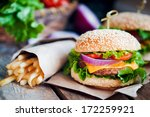closeup of home made burgers on ...   Shutterstock . vector #172259921
