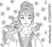fantasy coloring book page for... | Shutterstock .eps vector #1722603787