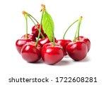 Fresh Cherry Fruit On White...