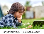leisure time  child boy using... | Shutterstock . vector #1722616204