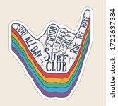 surfer shaka hand gesture sign... | Shutterstock .eps vector #1722637384