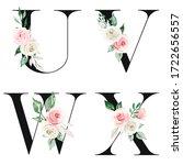 floral alphabet  letters set... | Shutterstock . vector #1722656557