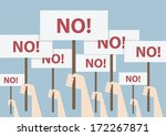 fist and placard  protest... | Shutterstock .eps vector #172267871