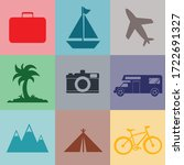 vector travel set icon logo  | Shutterstock .eps vector #1722691327