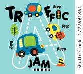 traffic jam on the road kid...   Shutterstock .eps vector #1722691861