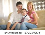 happy young family with kids in ... | Shutterstock . vector #172269275