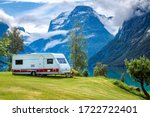 Family vacation travel RV, holiday trip in motorhome, Caravan car Vacation. Beautiful Nature Norway natural landscape. - stock photo