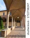 Historic Aurelio Saffi square in Forli, Emilia Romagna, Italy: cloister of San Mercuriale